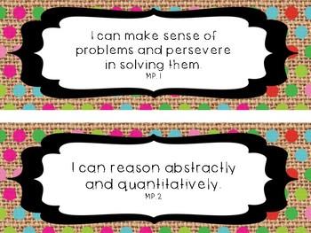 Burlap I Can Statements CCSS Math Practices