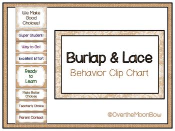 Burlap & Lace Style Behavior Clip Chart