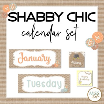 Burlap Shabby Chic Calendar Set