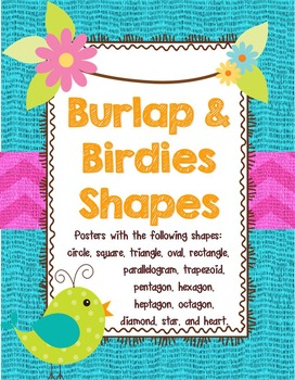 Birds and Burlap 2D Shapes Posters