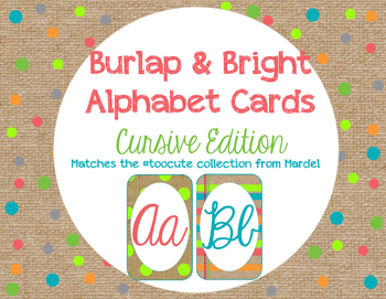 Burlap and Bright Cursive Alphabet Cards matches toocute
