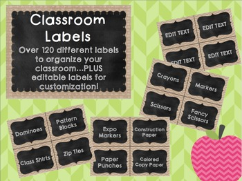 Burlap and Chalkboard Classroom Labels **EDITABLE**