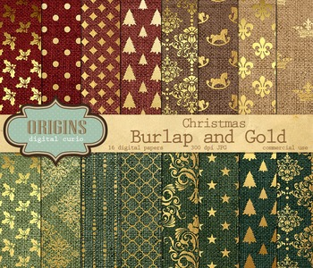 Burlap and Gold Christmas Digital Paper Scrapbook Paper Pack