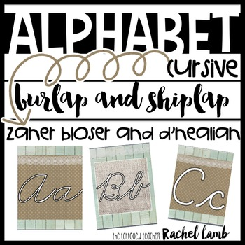 Burlap and Shiplap Cursive Alphabet ZB and DN