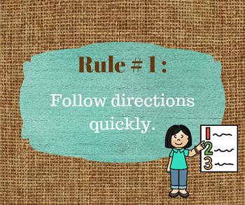 Whole Brain Teaching Rules Burlap and Wood