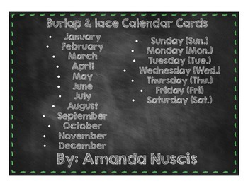 Burlap and lace calendar months of the year days of the we