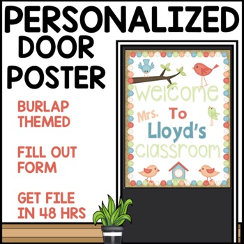 Burlap themed Customizable door sign