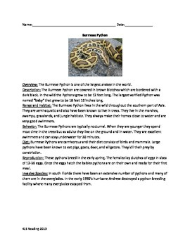 Burmese Python - Review Article Questions Vocabulary Info