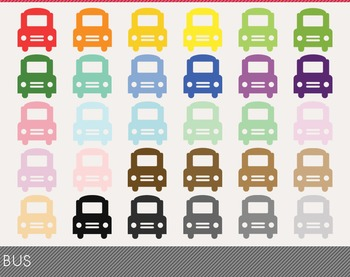 Bus Digital Clipart, Bus Graphics, Bus PNG, Rainbow Bus Di