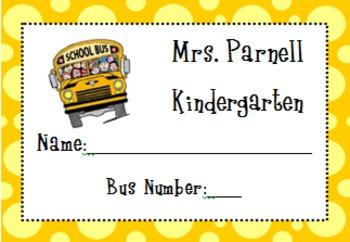 Bus Rider Tags- Editable