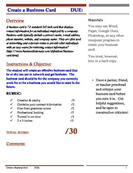 Business Card Assignment Rubric