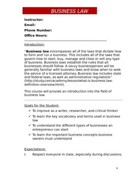 Business Law Syllabus (Doc)