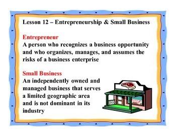 Business Principles - Lesson 12: Entrepreneurship & Small