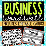 Business Vocabulary Word Wall Terms or Flash Cards, Test Prep