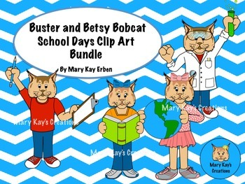Buster and Betsy Bobcat Mascot School Days Clip Art Bundle