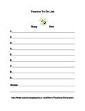 Busy Bee Teacher To-Do List