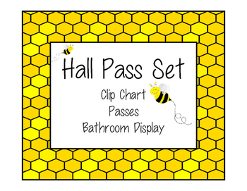 Hall Pass Set -  Clip Chart, Passes and Bathroom Display -
