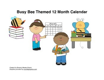 Busy Bee Themed 12 Month Calendar