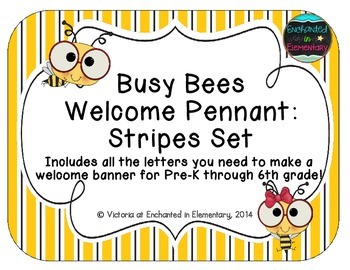 Busy Bees Welcome Pennant: Stripes Set
