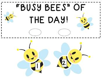 """Busy Bees of the Day"" - Helpers Chart"
