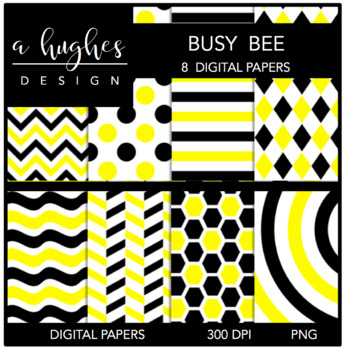 Busy Busy Bee {12x12 Digital Papers for Commercial Use}