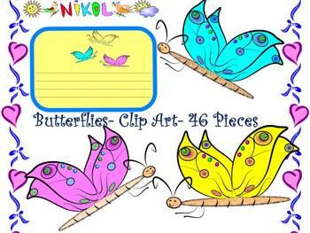 Labels - Butterflies - Clip Art