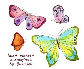 watercolor butterflies clipart set