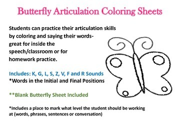 Butterfly Articulation Coloring Sheets Includes: CH, SH, K