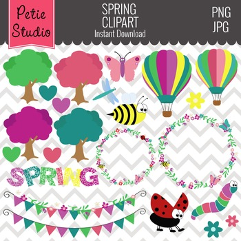 Insect Clipart, Floral Clipart, Bug Clipart, Bunting Clipa