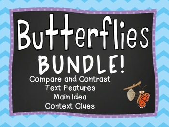Butterfly Reading Activities - Main Idea, Context clues, T