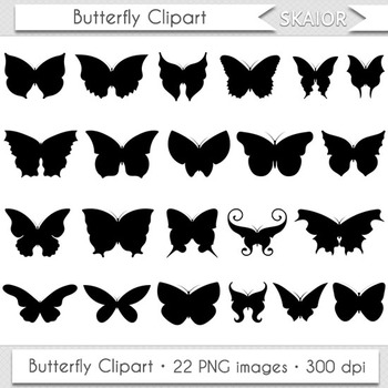 Butterfly Clipart Silhouette Digital Insect Clipart Butter
