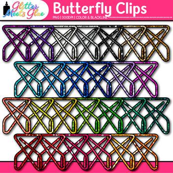 Butterfly Fastener Clip Art {Rainbow Glitter Back to Schoo