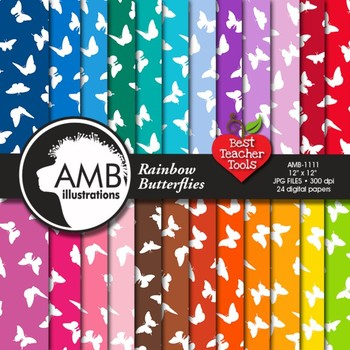 Digital Papers - Butterfly digital paper and backgrounds,