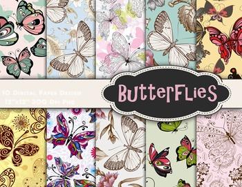 Butterfly Digital Scrapbook Paper Butterflies Digital Paper Pack