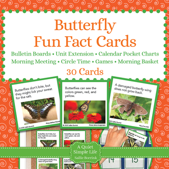 Butterflies Unit Activity - Fun Fact Cards for Games, Bull