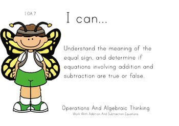 Butterfly Kids Theme 1st grade math Common Core Posters fi