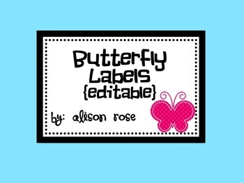 Butterfly Labels editable