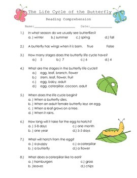 Butterfly Life Cycle Comprehension quiz