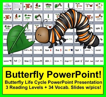 Butterfly Life Cycle PowerPoint - 3 Reading Levels + 34 Vo