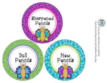 Butterfly Pencil Caddy Labels