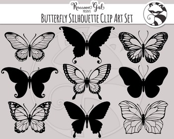 Butterfly Silhouette Clipart Set