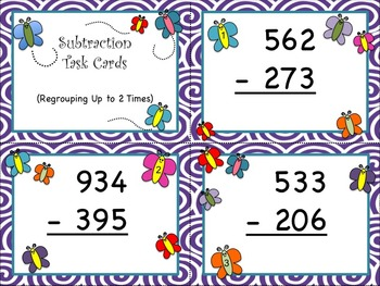 Butterfly Subtraction - Regrouping Up to Two Times