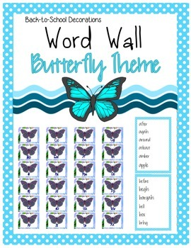 Butterfly Themed Editable Word Wall