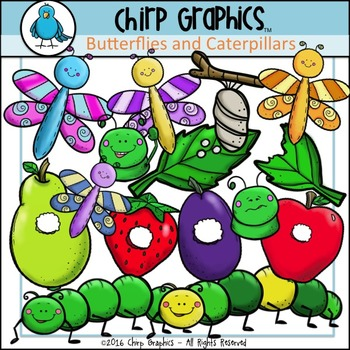 Butterfly and Caterpillar Clip Art Set - Chirp Graphics