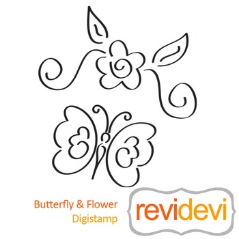 Butterfly and Flower (digital stamp, coloring image) S054