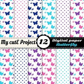 Butterfly in pink, purple and blue DIGITAL PAPER - Scrapbo