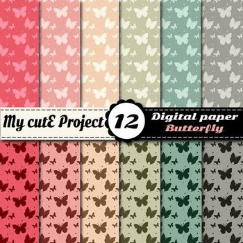 Butterfly in soft colors DIGITAL PAPER - Butterflies scrap