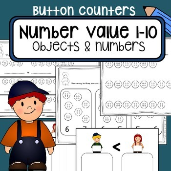 Number value counting 1-10 - Button counters - Math center