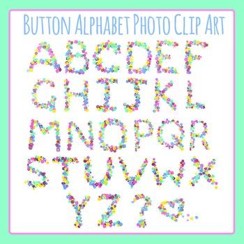 Button Letters / Alphabets Photo / Photograph Clip Art Set