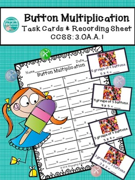 Button Multiplication Task Cards & Recording Sheet